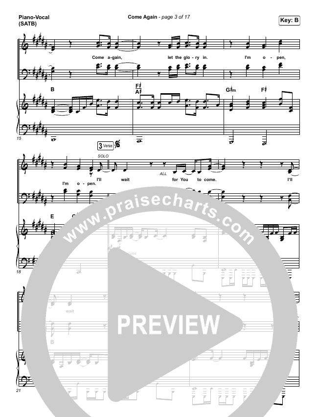 Come Again Piano/Vocal (SATB) (Maverick City Music / Elevation Worship / Chandler Moore / Brandon Lake)