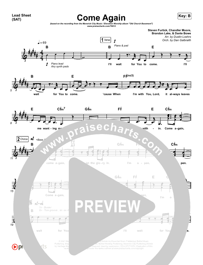 Come Again Orchestration (with Vocals) (Maverick City Music / Elevation Worship / Chandler Moore / Brandon Lake)