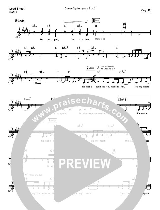 Come Again Piano/Vocal Pack (Maverick City Music / Elevation Worship / Chandler Moore / Brandon Lake)
