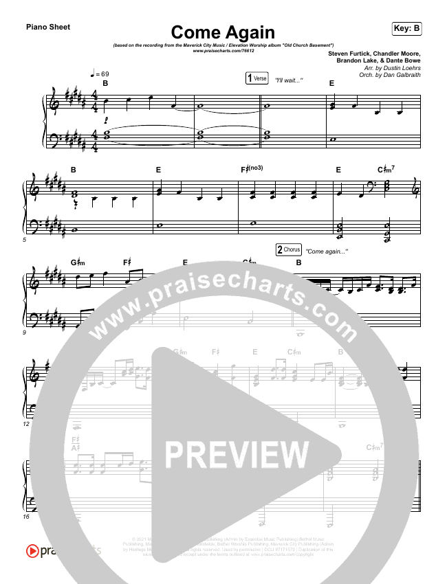 Come Again Piano Sheet (Maverick City Music / Elevation Worship / Chandler Moore / Brandon Lake)