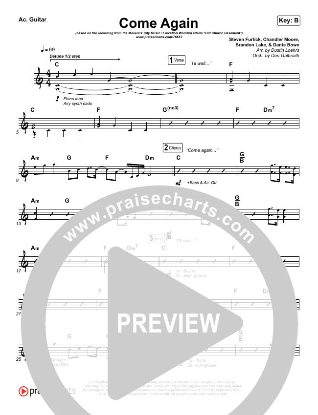 Come Again Rhythm Chart (Maverick City Music / Elevation Worship / Chandler Moore / Brandon Lake)