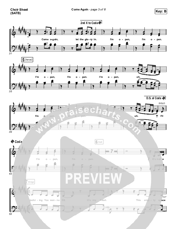Come Again Choir Sheet (SATB) (Maverick City Music / Elevation Worship / Chandler Moore / Brandon Lake)