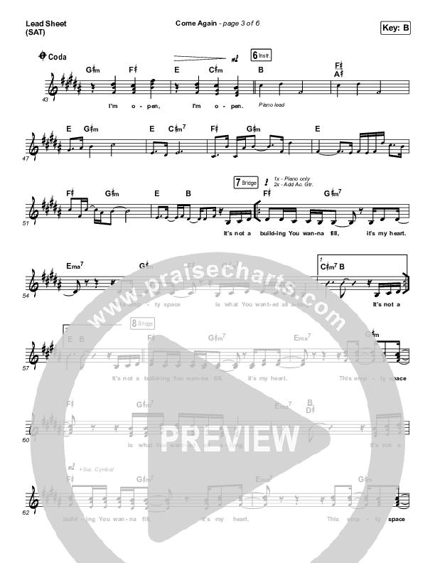 Come Again Lead Sheet (SAT) (Maverick City Music / Elevation Worship / Chandler Moore / Brandon Lake)
