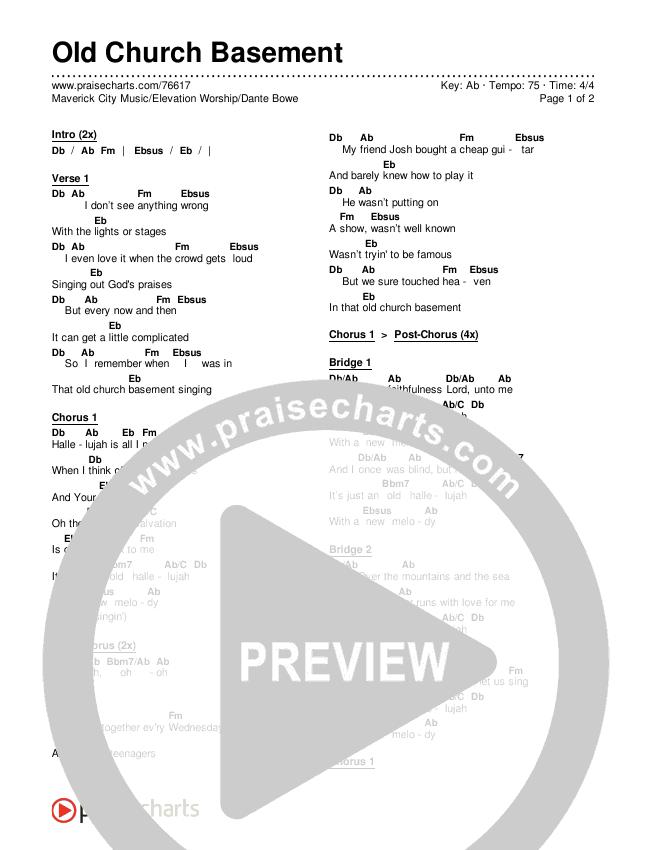 Old Church Basement Chords & Lyrics (Maverick City Music / Elevation Worship / Dante Bowe)