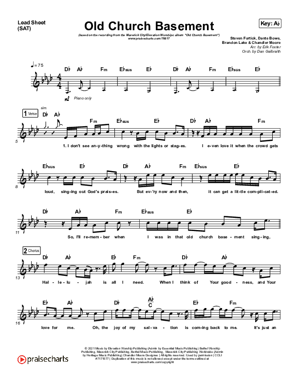 Old Church Basement Piano/Vocal Pack (Maverick City Music / Elevation Worship / Dante Bowe)