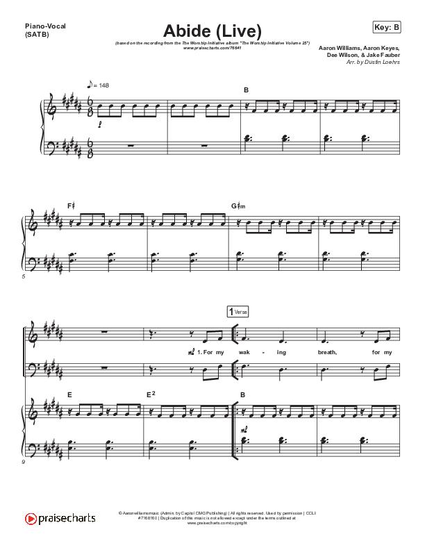 Abide (Live) Piano/Vocal (SATB) (The Worship Initiative / Shane & Shane)