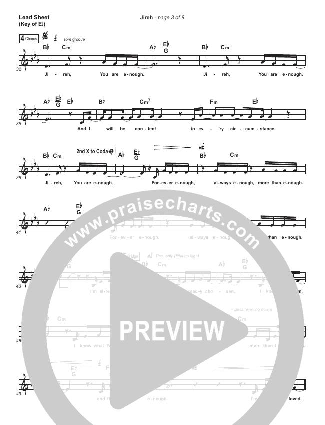 Jireh (Choral) Lead Sheet (Melody) (PraiseCharts Choral / Maverick City Music / Elevation Worship)