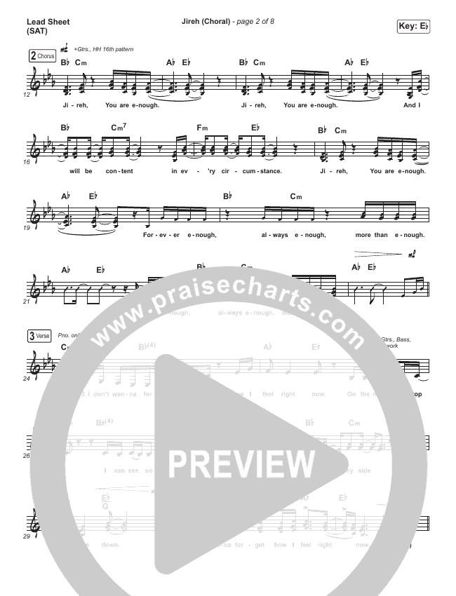 Jireh (Choral) Lead Sheet (SAT) (PraiseCharts Choral / Maverick City Music / Elevation Worship)