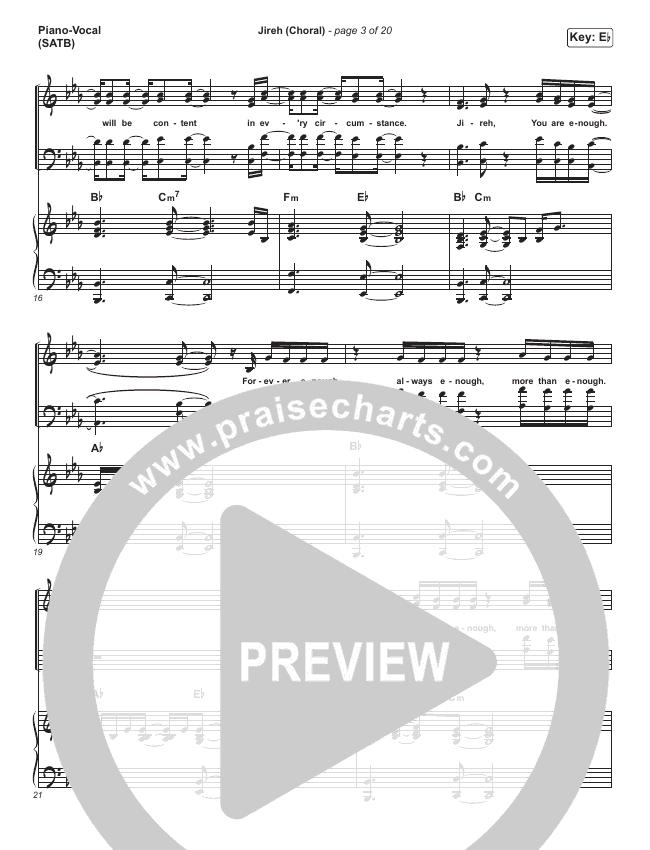 Jireh (Choral) Piano/Vocal (SATB) (PraiseCharts Choral / Maverick City Music / Elevation Worship)