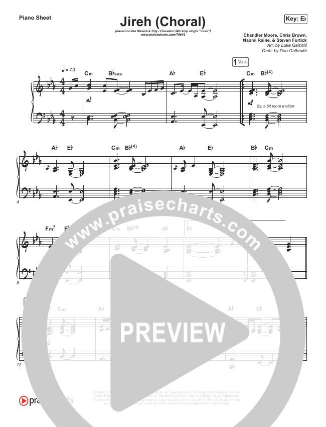 Jireh (Choral) Piano Sheet (PraiseCharts Choral / Maverick City Music / Elevation Worship)