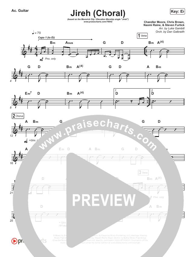 Jireh (Choral) Rhythm Chart (PraiseCharts Choral / Maverick City Music / Elevation Worship)