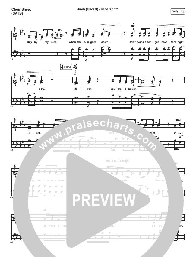 Jireh (Choral) Choir Sheet (SATB) (PraiseCharts Choral / Maverick City Music / Elevation Worship)