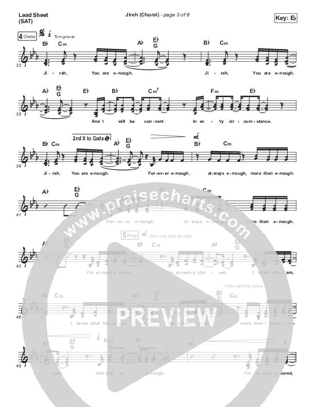 Jireh (Choral) Lead Sheet (SAT) (PraiseCharts Choral / Maverick City Music / Elevation Worship / Arr. Luke Gambill)