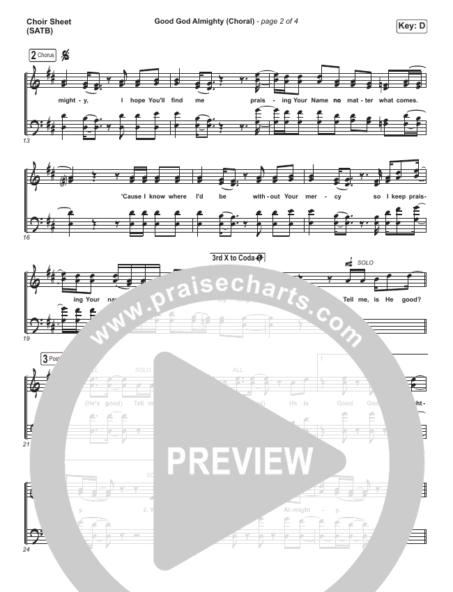 Good God Almighty (Choral) Choir Sheet (SATB) (PraiseCharts Choral / Crowder / Arr. Luke Gambill)