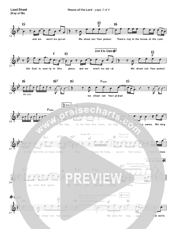 House Of The Lord (Premium) Lead Sheet (Melody) (Phil Wickham / Arr. Cliff Duren)