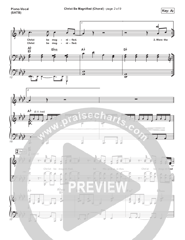 Christ Be Magnified (Choral) Piano/Vocal (SATB) (PraiseCharts Choral / Cody Carnes / Arr. Luke Gambill)