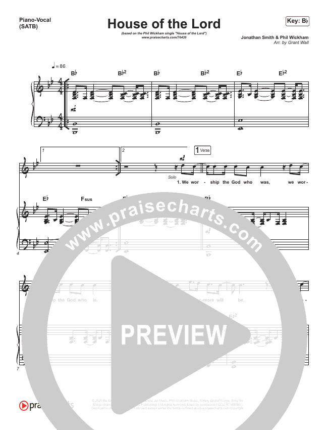 House Of The Lord (Acoustic) Piano/Vocal (SATB) (Phil Wickham)