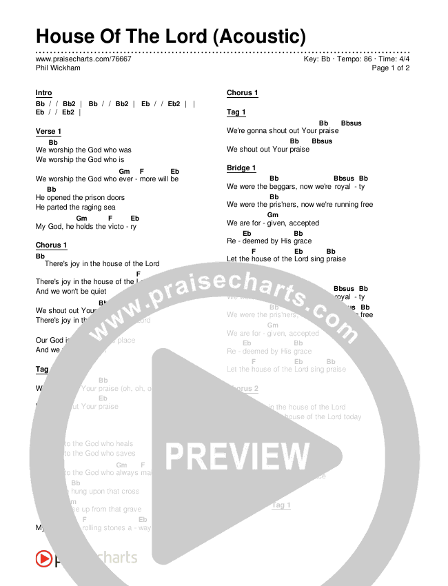 House Of The Lord (Acoustic) Chords & Lyrics (Phil Wickham)