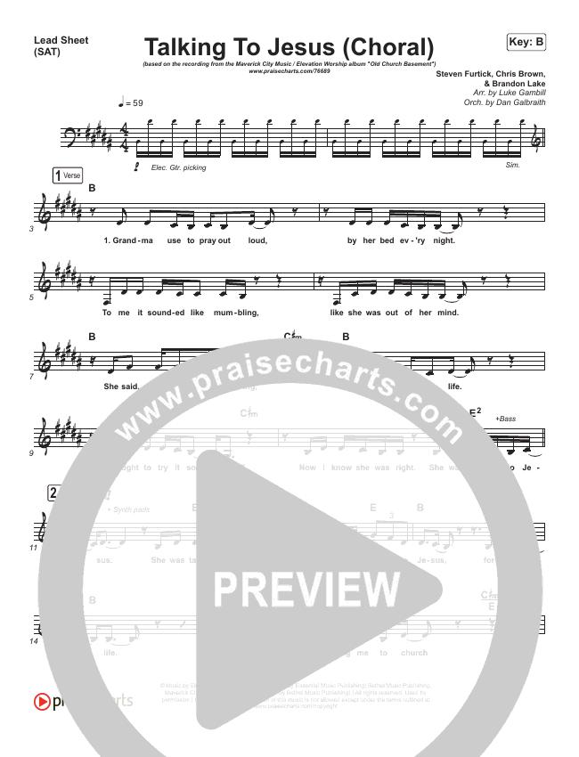 Talking To Jesus (Choral) Piano/Vocal Pack (Choral) (PraiseCharts Choral / Maverick City Music / Elevation Worship / Brandon Lake / Arr. Luke Gambill)