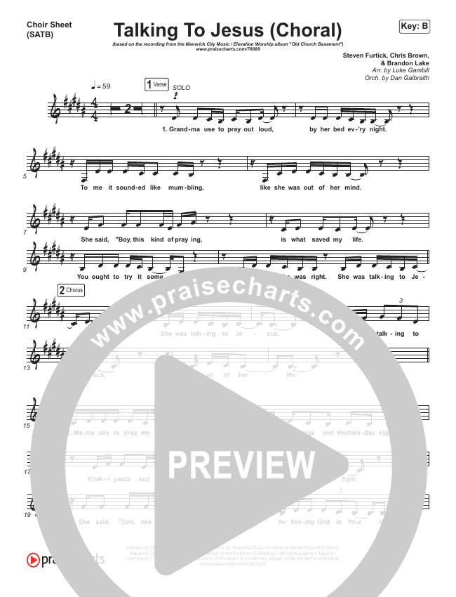 Talking To Jesus (Choral) Choir Sheet (SATB) (PraiseCharts Choral / Maverick City Music / Elevation Worship / Brandon Lake)