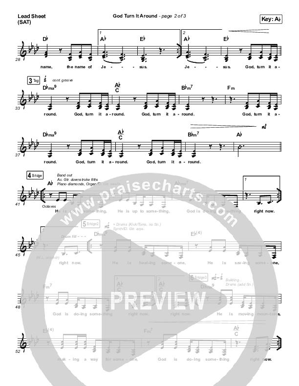 God Turn It Around (Live) Lead Sheet (SAT) (Church Of The City / Jon Reddick)