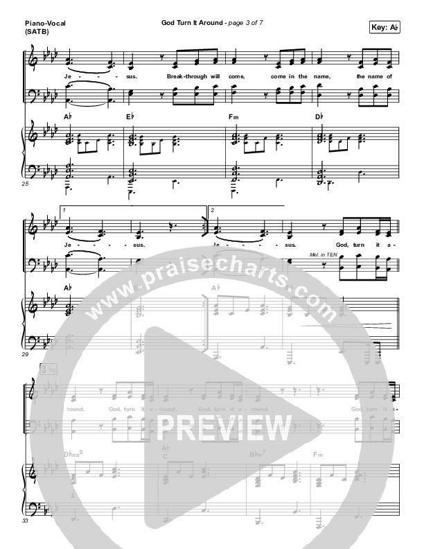God Turn It Around (Live) Piano/Vocal (SATB) (Church Of The City / Jon Reddick)
