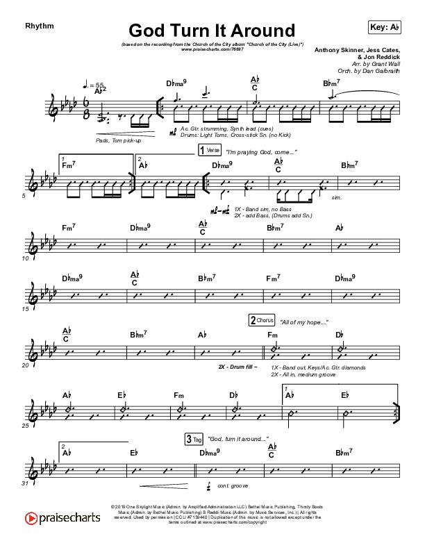 God Turn It Around (Live) Rhythm Chart (Church Of The City / Jon Reddick)
