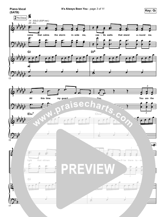 It's Always Been You Piano/Vocal (SATB) (Phil Wickham)