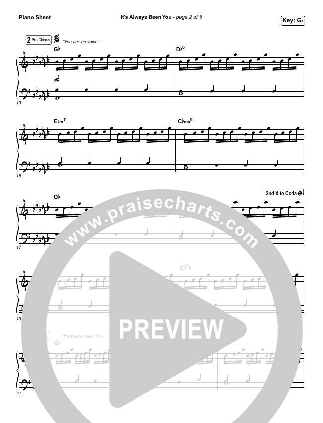 It's Always Been You Piano Sheet (Phil Wickham)