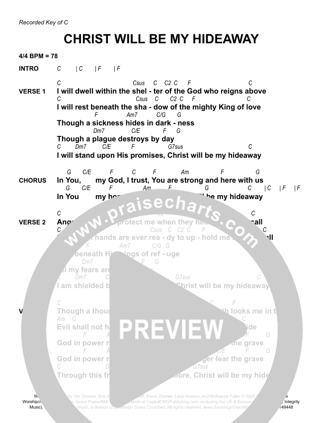 Christ Will Be My Hideaway Chord Chart (Sovereign Grace)
