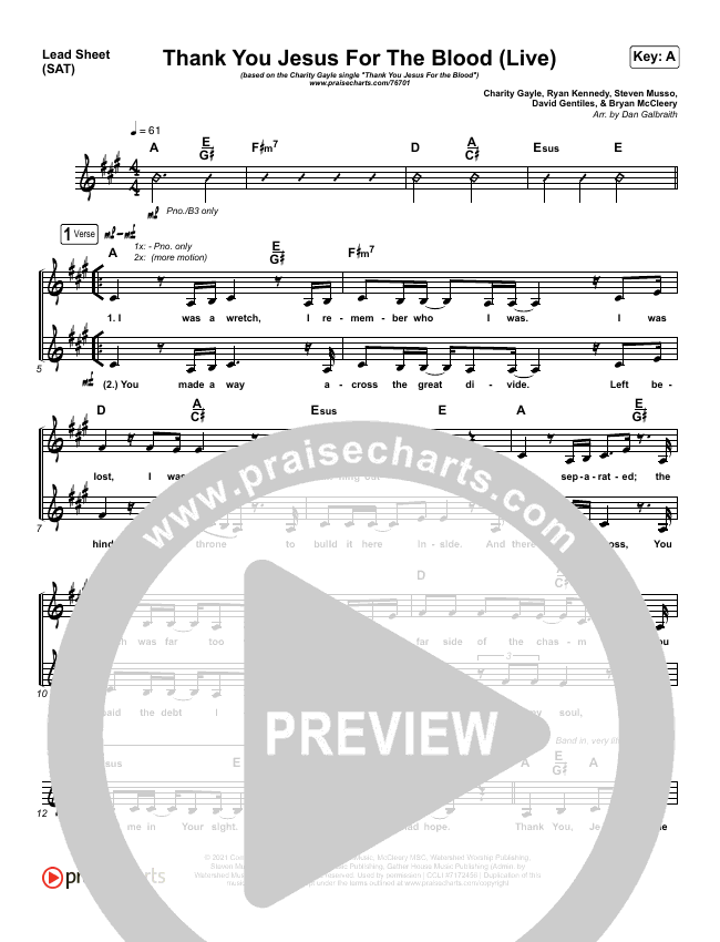 Thank You Jesus For The Blood (Live) Lead Sheet (SAT) (Charity Gayle)