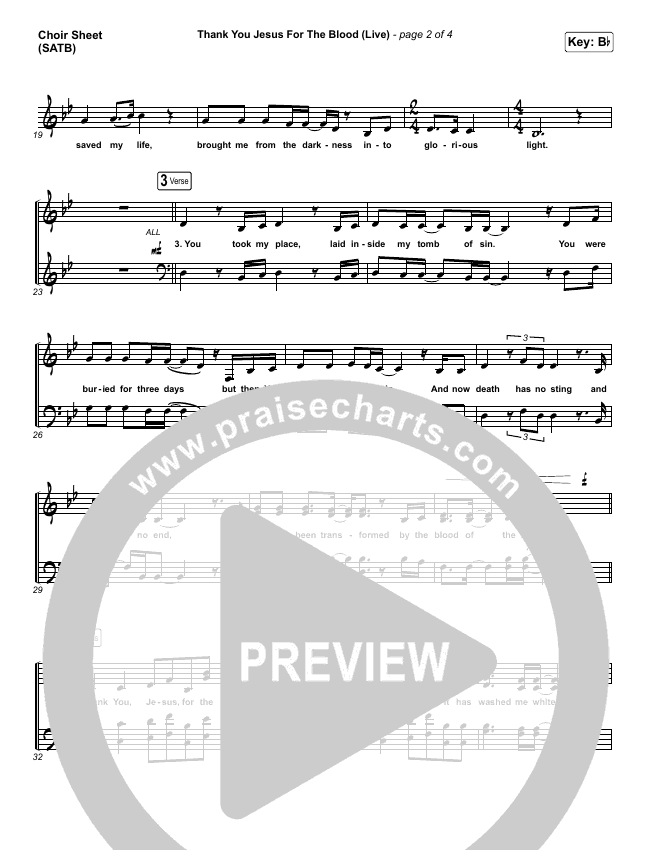 Thank You Jesus For The Blood (Live) Choir Sheet (SATB) (Charity Gayle)