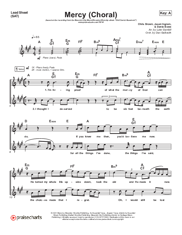 Mercy (Choral) Lead & Piano/Vocal (PraiseCharts Choral / Maverick City Music / Elevation Worship / Chris Brown / Arr. Luke Gambill)