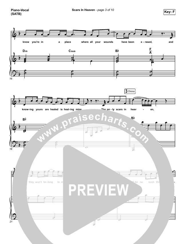 Scars In Heaven Piano/Vocal (SATB) (Casting Crowns)