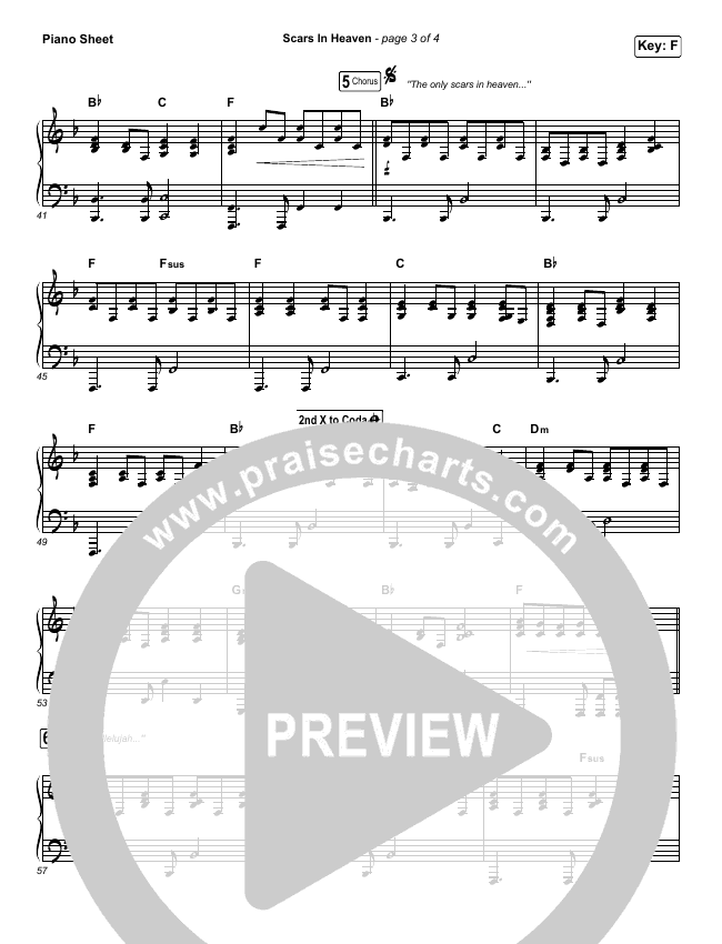 Scars In Heaven Piano Sheet (Casting Crowns)