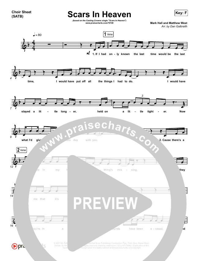 Scars In Heaven Choir Sheet (SATB) (Casting Crowns)