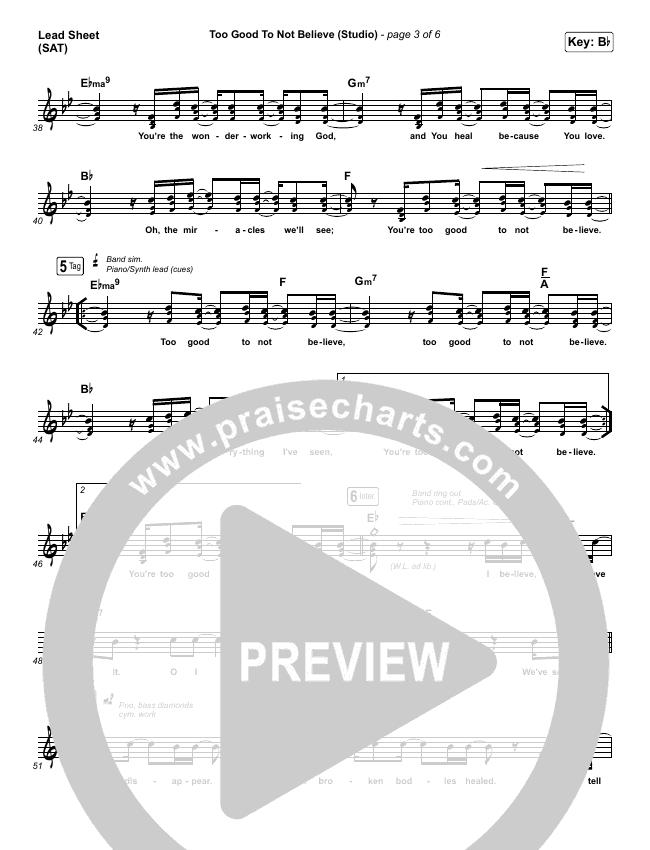 Too Good To Not Believe (Live) Lead Sheet (SAT) (Bethel Music / Brandon Lake)
