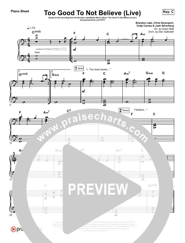 Too Good To Not Believe (Live) Piano Sheet (Bethel Music / Brandon Lake)