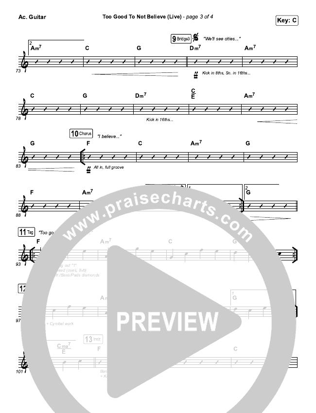 Too Good To Not Believe (Live) Rhythm Chart (Bethel Music / Brandon Lake)