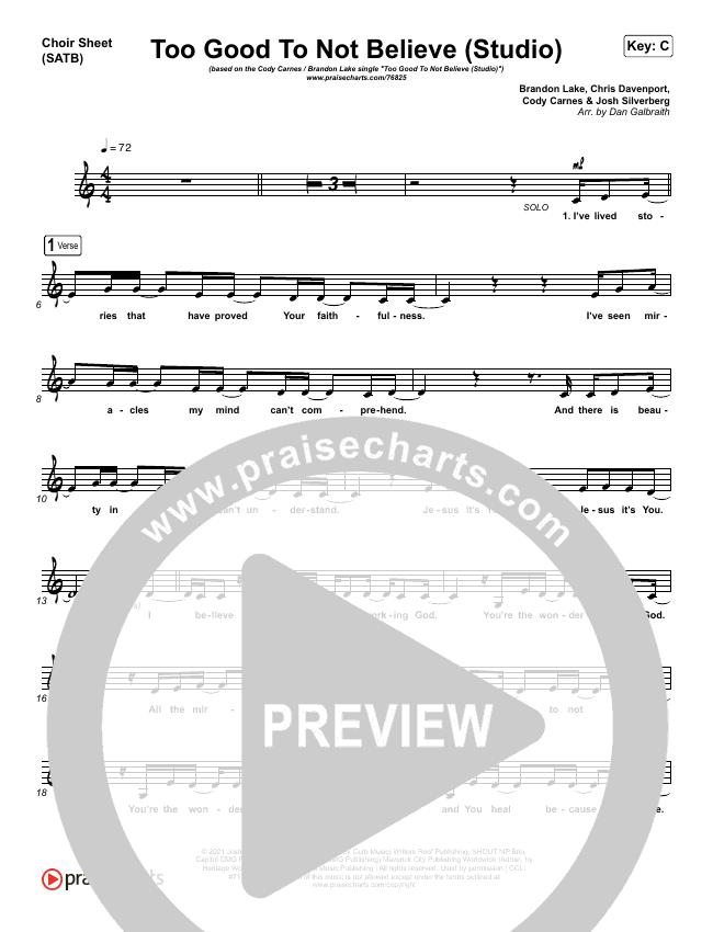 Too Good To Not Believe (Live) Choir Sheet (SATB) (Bethel Music / Brandon Lake)