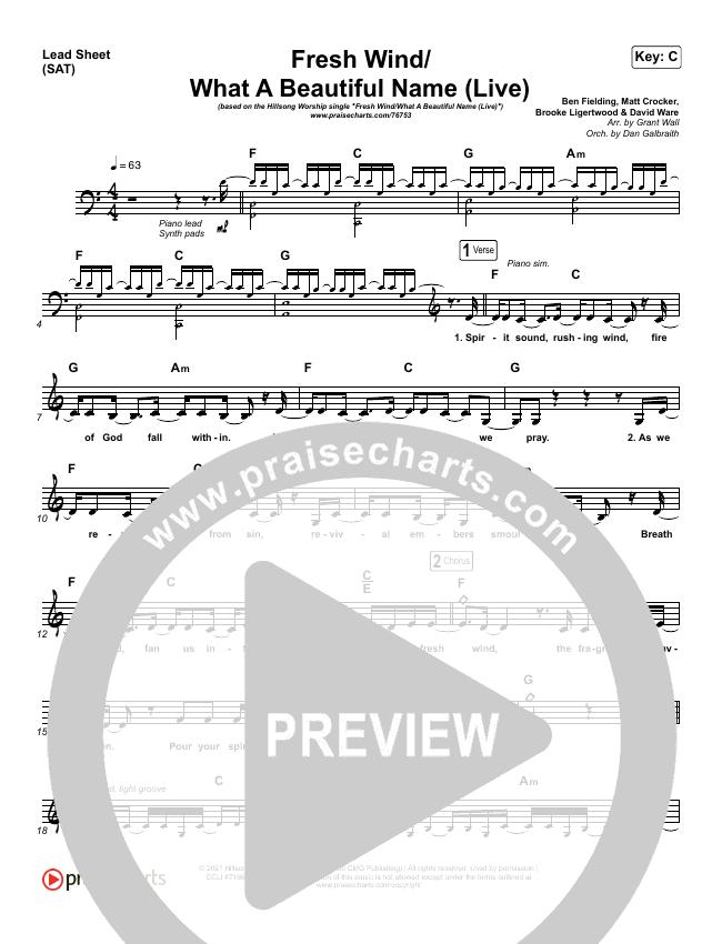 Fresh Wind / What A Beautiful Name (Live) Lead Sheet (SAT) (Hillsong Worship)
