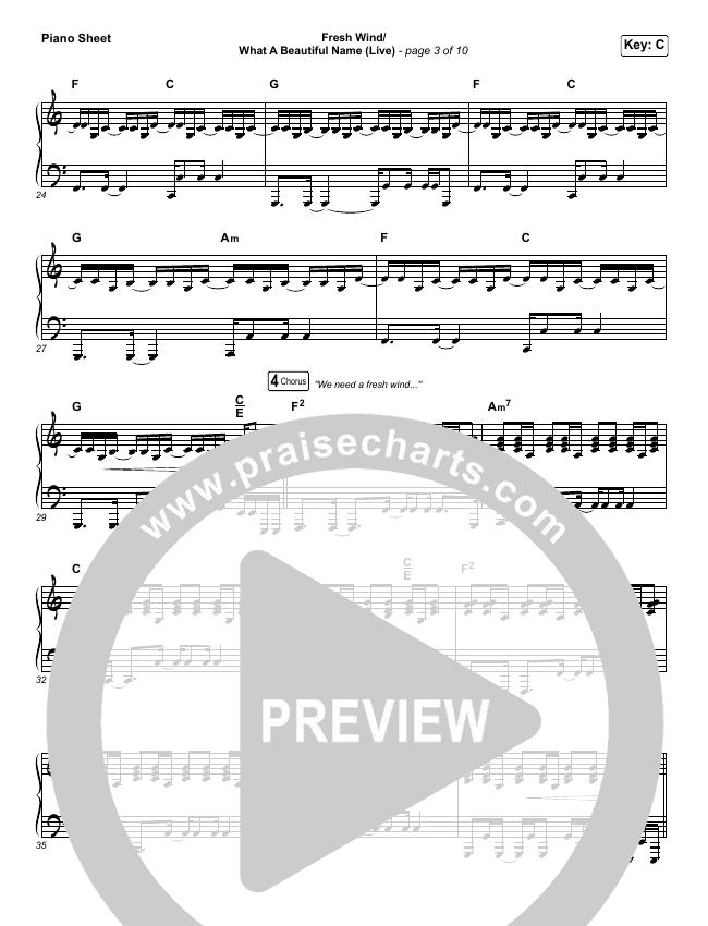 Fresh Wind / What A Beautiful Name (Live) Piano Sheet (Hillsong Worship)