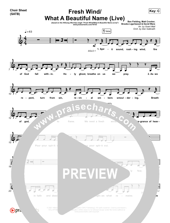Fresh Wind / What A Beautiful Name (Live) Choir Sheet (SATB) (Hillsong Worship)