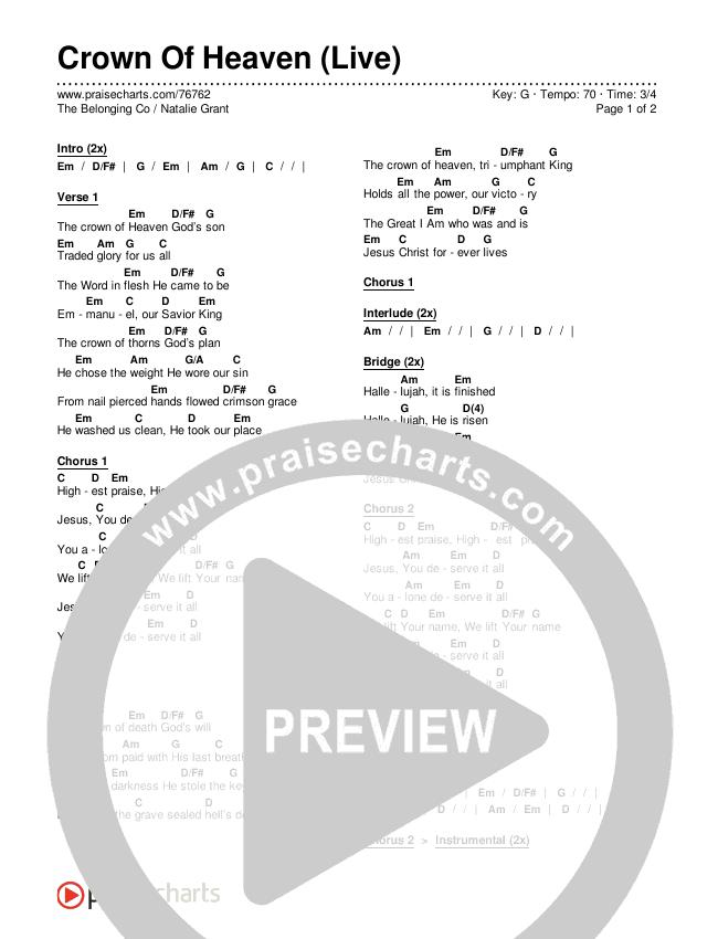 Crown Of Heaven (Live) Chords & Lyrics (The Belonging Co / Natalie Grant)