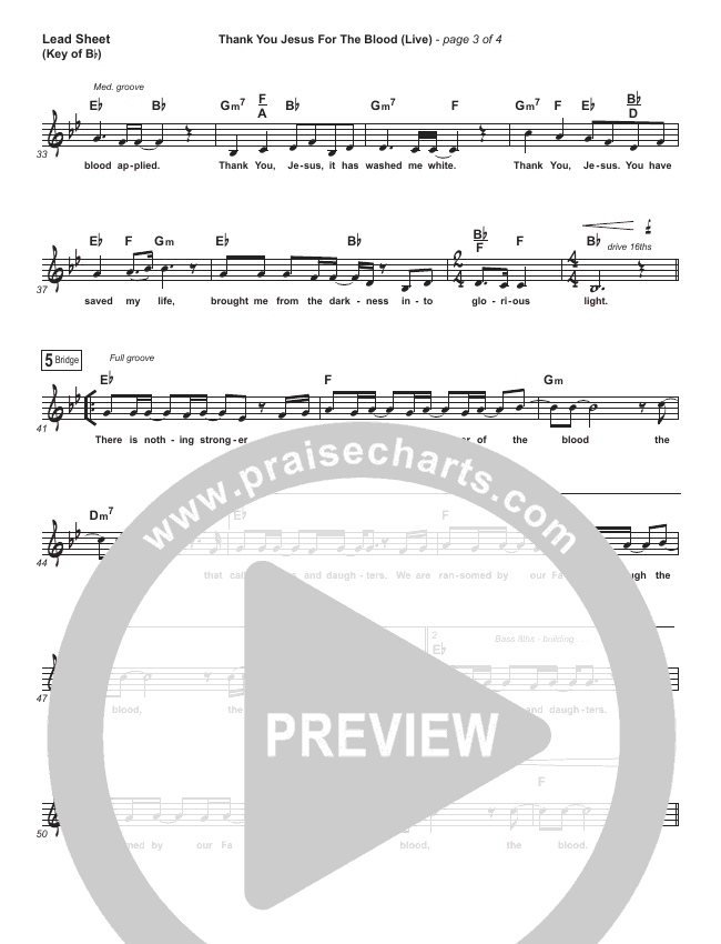 Thank You Jesus For The Blood (Choral) Lead Sheet (Melody) (PraiseCharts Choral / Charity Gayle / Arr. Luke Gambill)