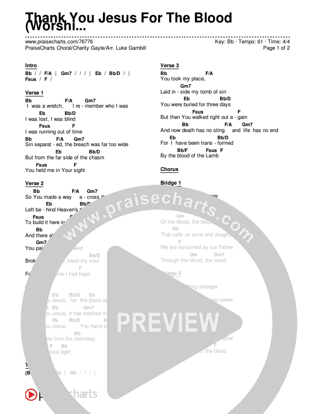 Thank You Jesus For The Blood (Choral) Chords & Lyrics (PraiseCharts Choral / Charity Gayle)