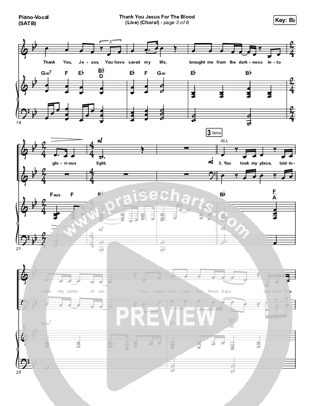 Thank You Jesus For The Blood (Choral) Piano/Vocal (SATB) (PraiseCharts Choral / Charity Gayle / Arr. Luke Gambill)