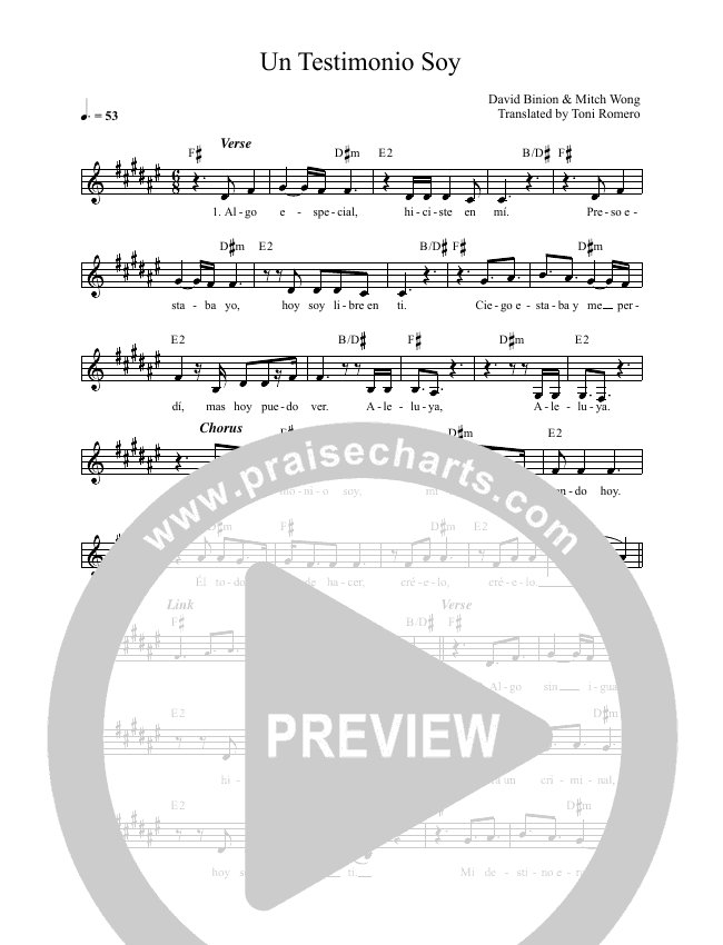 Un Testimonio Soy (Living Proof) Lead & Piano (Blest)