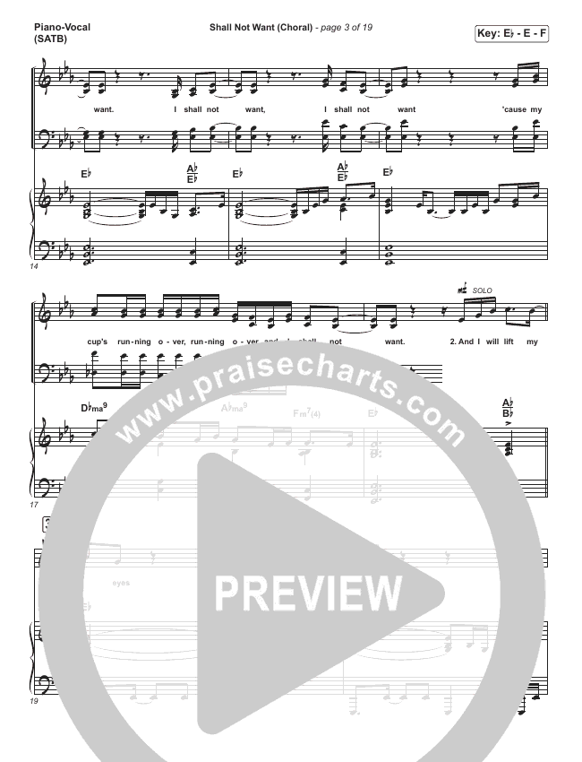 Shall Not Want (Choral) Piano/Vocal (SATB) (PraiseCharts Choral / Maverick City Music / Elevation Worship / Arr. Luke Gambill)