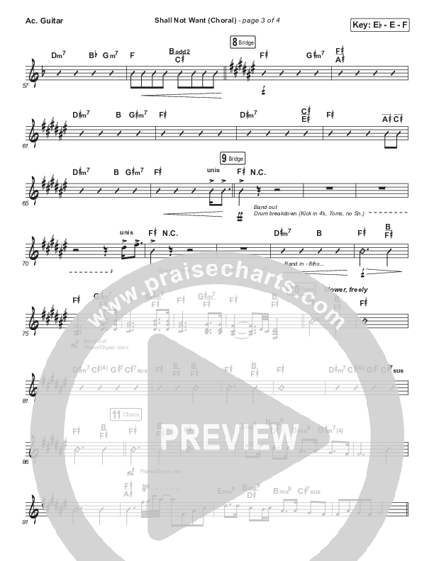Shall Not Want (Choral) Acoustic Guitar (PraiseCharts Choral / Maverick City Music / Elevation Worship / Arr. Luke Gambill)